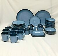 36 PIECES SANGO NOVA BLUE DINNER PLATES BOWLS LUNCH MUGS w/ SERVING PIECES 4934