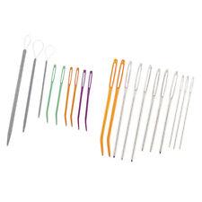 2Set Bent Tapestry Needles Large-Eye Darning Yarn Stitching Needle Threader Tool