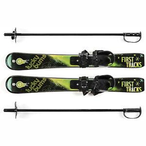 Lucky Bums Toddler Kids Beginner Plastic Snow Skis w/ Bindings, Green (Used)