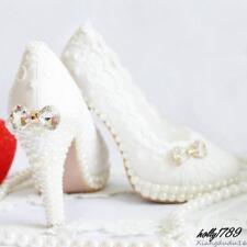 Women White Bridal Bowknot Wedding Shoes Lace Flower high heel Rhinestones Sweet