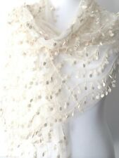 Lace Scarf Cream Vintage Style Wrap Tassel Trim Wedding Lacy Shawl Prom Pashmina