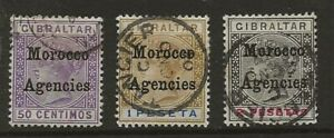 MOROCCO AGENCIES  SG 14/16  TOP VALUES OF THE 1899 Q.V. SET   GOOD/FINE USED