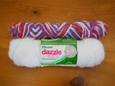 Caron Dazzleaire and Sparkling Yarn White Red White Blue 2 partial skeins