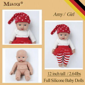 "12"" Silicone Reborn Baby Girl Dolls Newborn Lifelike For Kids Christmas Gift"