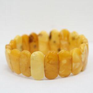 Egg Yolk Butterscotch Amber Elasticated 25mm Bracelet