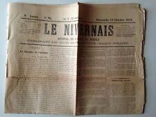 LE NIVERNAIS 13 OCTOBRE 1878 - JOURNAL DE L'APPEL AU PEUPLE