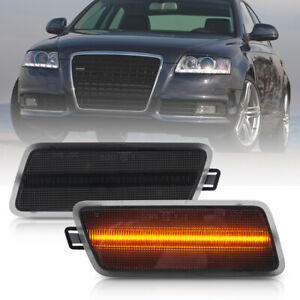 Smoked Lens Amber Led Front Bumper Side Marker Light for 05-11 Audi A6 C6 S6 RS6