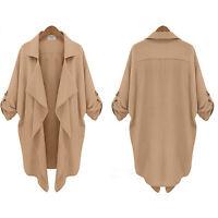 Women Open Front Cardigan Jacket Overcoat Ladies Batwing Blazer Duster Coat Tops