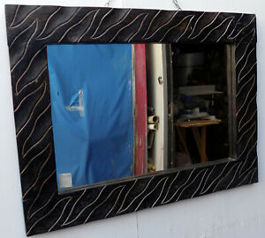 Mirror Wooden Inlaid Seasoned CMS 80x60x3 Color Natural Wenge Brown
