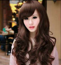 Hot Sale~Sexy Fashion Long Curly Cosplay Women Dark Brown Hair Full Wig Free Cap