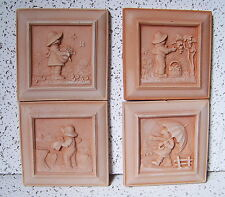 "5 1/2"" Set Of 4 Terra Cotta Square Wall Plaques Seasons Garden Art Italian Clay"