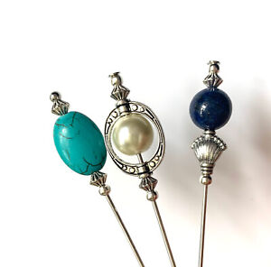 """3X Beautiful Lapis, Turquoise & Pearl Vintage Style 5"""" Long Hatpins & Protector"""