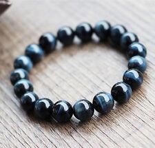 Natural Blue Tiger's Eye Gemstone Round Beads Bracelet AAAA 12 mm