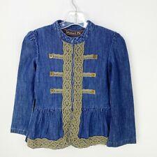 Mustard Pie Girls Size 6 Harvest Splendor Blue Denim Jacket Brown Lace Trim