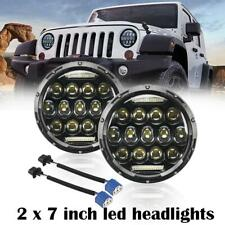 2x75W 7inch LED Headlights Round Halo Projector DRL For Jeep Wrangler JK TJ LJ