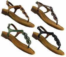 Buckle Flat (0 to 1/2 in.) Wedge Leather Sandals & Flip Flops for Women