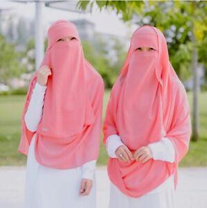 Verschiedene Farben: Malaysian Niqab einlagig mit Klappe Hijab Schleier Burka