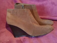 Brown Suedette Wedge Ankle Boots Size 6