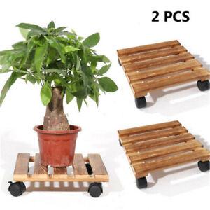 2PCS Plant Caddy Flower Pot Rack Rollers Dolly Holder Tray Wheel Brakes Balcony