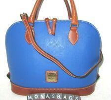 Dooney & Bourke French Blue Pebbled Leather Zip Zip Dome Satchel Bag NWT $228