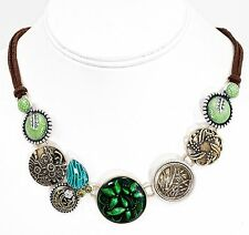 Green Spirit of Nature Antiqued Brass Crystal Necklace Suede Leather