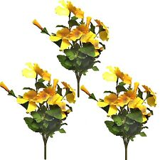 3 Large 29cm Artificial Pansy Bushes / Plants - Yellow Flowers