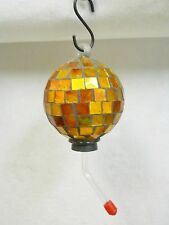 "Mosaic Glass Humming Bird Feeder and ""S"" Hook Hanger 12 oz Amber Tones (70)"