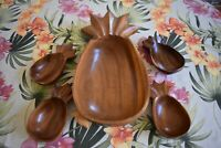 Vintage Mid Century Alii Woods LARGE Pineapple Serving Salad Bowl w Small Bowls