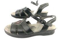 SAS HUARACHE Women 7 Black Leather TriPad Comfort Ankle Strap Sandal Shoes EUC!