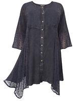 Womens plus size 18 20 22 24  top BLACK longer length romantic 3/4 sleeves lace