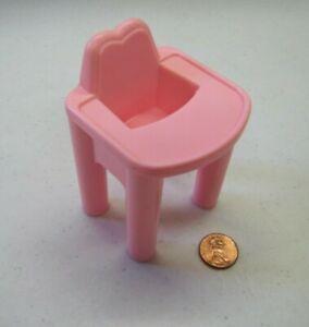 PLAYSKOOL Dollhouse PINK HIGHCHAIR for 2.5 inch BABY Doll High Chair Nursery
