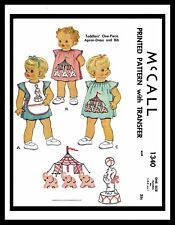 McCall 1340 Pattern Baby 1pc APRON BIB Dress Frock Embroidered GIRL TODDLER 1~3