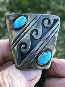 Fantastic Old Sterling Silver & Turquoise Bolo Tie by Victor Coochwytewa!