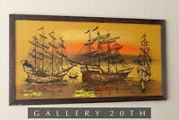 GORGEOUS SHIPS OIL PAINTING! MID CENTURY VTG 60S GALLEON WALL ART EAMES DECOR