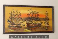 GORGEOUS SHIPS ORIGINAL OIL PAINTING! MID CENTURY VTG 60S GALLEON WALL ART DECOR