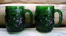 3D green glass christmas coffee mugs  *  santa claus & holly  *  set of 2
