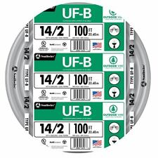 100' Roll 14-2 AWG UFB Gauge Outdoor Burial Electrical Feeder Copper Wire Cable