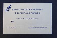 Carte de membre ASSOCIATION DES SENIORS GOLFEURS DE FRANCE golf member card