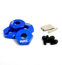 1/10 Scale RC Car 12mm Alloy Wheel Adaptors Drive Hex Hub Pin Nut Blue 3mm