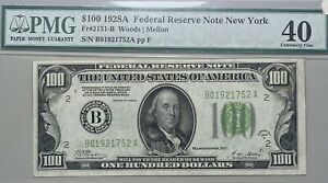 1928 A $100 Federal Reserve Note FR# 2151-B New York PMG XF 40 Woods/Mellon