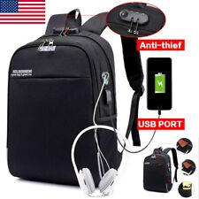 Anti-thief Backpack Mens Canvas Laptop Bag+USB Charging Port Travel Satchel Bag