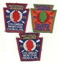 Lot of 3--Jamboree Contingent Patches, Columbia-Montour 1973 1977 1977Error