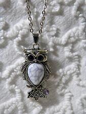 "New Owl Black Rhinestone Eyes Gray Marbled Body On 20"" Link Chain Necklace N 285"