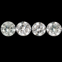 0.40CT Natural White Loose Diamond 4/Pcs. Set Superb Round Cut With Certificate