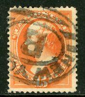 USA 1873 Continental 15¢ Webster Fancy Scott 163 VFU I526 ⭐⭐⭐⭐⭐⭐