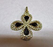 Beautiful Clear Rhinestones & Black Glass Marquis Clasp Hook Pendant
