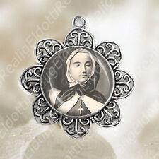 St Marguerite Bourgeoys Medal Flower Shaped Silver Tone Catholic Jewelry