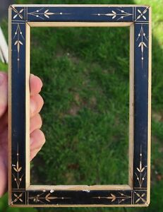 Antique 19th C VICTORIAN EASTLAKE EBONIZED CARVED Picture FRAME, Black Aesthetic
