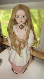 ANTIQUE BISQUE DOLL REPRODUCTION A MARQUE HH WIG HAND MADE COSTUME P.W.EYES