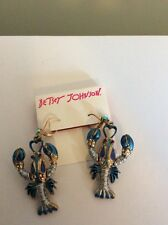 Betsey Johnson In to the Blue Gold-Tone Lobster Drop Earrings $45 BE 10